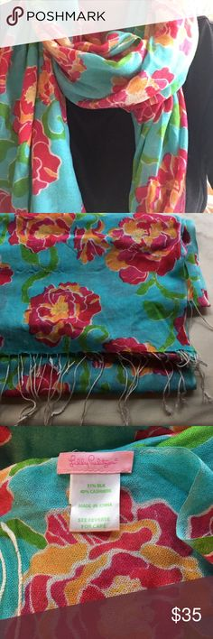 Lilly Pulitzer Silk/Cashmere Murfee Scarf Floral scarf. Classic Murfee with tassels. Torquoise, pink, orange, white and green in the print. Very soft and light. Only worn a few times (it's not quite my style). Lilly Pulitzer Accessories Scarves & Wraps