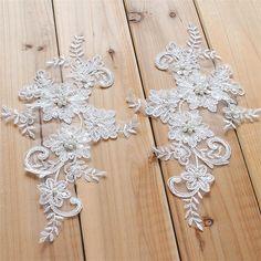 Beaded Wedding Lace Motif Ivory Lace Applique Trim by LaceNTrim
