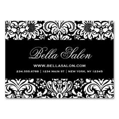 Elegant black white pink damask business cards pink damask black and white elegant floral damask business card reheart Gallery