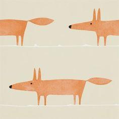 Scion Mr Fox Behang Het Scion Mr Fox behang heeft een getekend vosje als patroon. Ook in stof leverbaar.  Collectie:  Scion Spirit & Soul behangcollectie Design name: Scion Mr Fox behang Kleur: gin...