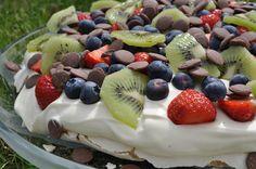 Flykræsj Frisk, Pavlova, Fruit Salad, Pudding, Desserts, Food, Tailgate Desserts, Fruit Salads, Puddings