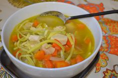 Chicken Zoodle Soup - zucchini noodles!