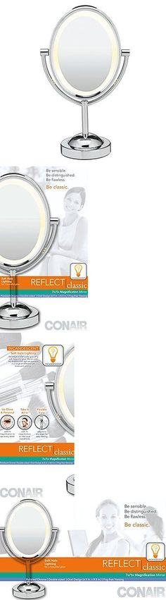 Makeup Mirrors: Conair Oval Shaped Double-Sided Lighted Makeup Mirror: 1X/7X Magnification: New BUY IT NOW ONLY: $36.0
