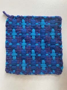 Potholder Loom, Potholder Patterns, Crochet Potholders, Rug Loom, Loom Weaving, Hand Weaving, Weaving Projects, Craft Projects, Turquoise And Purple