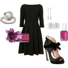 Black bridesmaid dress but with blush accessories