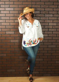 Amazing Otomi Blouse Hand embroidered by Otomi women. by ArteOtomi