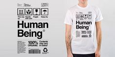 Human Being - Amazing T-shirt Design 100% organic (Funny, clever, interesting, t-shirts, tee, tees, t shirt, tshirt, fun, creative, graphic, text)