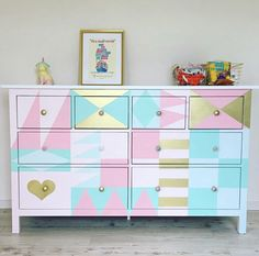 disney house decor Dont want to paint a mural on your walls? Paint it on your dresser! Dresser goals by Love a great Disney inspired DIY! Thank you so much for sharin Disney Furniture, Kids Furniture, Disney Bedrooms, Changing Table Dresser, World Decor, Disney Home Decor, Disney Nursery, Little Girl Rooms, Small World