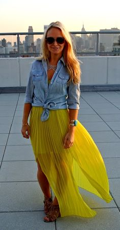 Lovely denim shirt with yellow long maxi skirt and brown stylish ladies sandals and matching hand braslate the perfect street style outfits