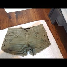 Army green denim shorts Color army green. Size 25. Lace up detail. Distressed. Billabong Shorts Jean Shorts