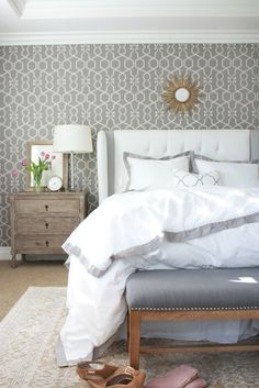 Master Bedroom: Layers of Bedding from A Thoughtful Place {and how to fold a fitted sheet!}