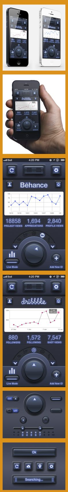 """Tracker"" App - Mobile UI Design - by Tobia Crivellari, via Behance"