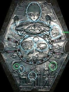 """Medallion found in Egypt has elongated skulls. Are these """"HUMAN"""" or other residents of the earth? A possible space craft is at the top to represent they rule /leadership over the Egypt area in ancient times. Ancient Aliens, Aliens And Ufos, Ancient Art, Ancient Egypt, Ancient History, European History, Ancient Greece, American History, Objets Antiques"""