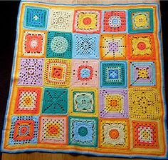 Baby afghan. bright and cheerful. lots of work