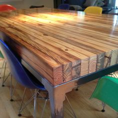 Pallet Table Plans Reclaimed wood dining table from Workshop™. The Grand Boulevard Dining Table Industriale is designed and built in the city of Detroit. Wooden Pallet Projects, Wooden Pallet Furniture, Wooden Pallets, Rustic Furniture, Diy Furniture, Furniture Design, Modern Furniture, Diy Pallet, Pallet Ideas