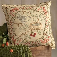 A perfect pillow for spring - a mama bird and her nest!