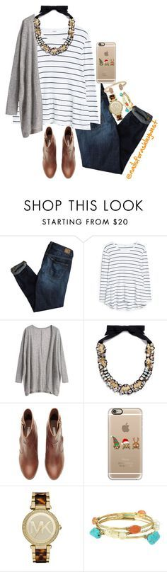 """Read D please!"" by nailsforashleywest on Polyvore featuring American Eagle Outfitters, MANGO, J.Crew, H&M, Casetify, Michael Kors, Blandice and Kendra Scott"
