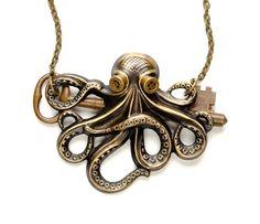Poulpe collier pieuvre bijoux Steam Punk Kraken Cthulhu Steampunk lunettes bijoux Steampunk par curiosités victoriennes