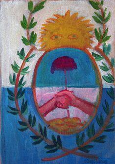 """""""José de San Martín con la Bandera de los Andes """", acrilico sobre tela, 41 x 44 cm, año 2016. Del artista plastico Diego Manuel"""