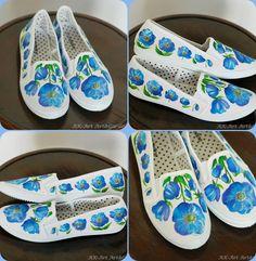 Ręcznie malowane tenisowki w mekonopsy :)  Hand painted sneakers with Meconopsis :)  Handbemalte Turnschuhe mit Meconopsis :)