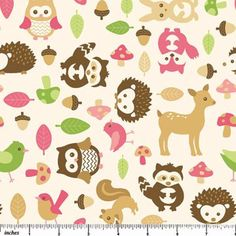 Drygoods Design — Forest Friends Flannel Friendlies Raspberry