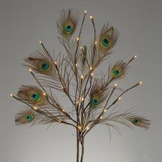 The Gerson Company Artificial Arrangement Convertible Peacock Feather LED Branches - Multicolor