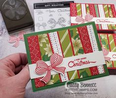 Scrappy Strip card technique Christmas Card Ideas featuring Stampin\' Up! Tis the Season paper, Heartwarming Hugs paper and Poinsettia Place paper and Gift Bow Punch. www.PattyStamps.com