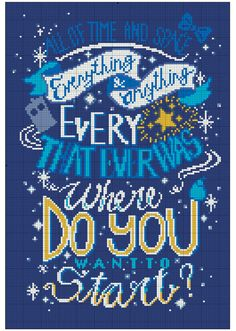 """Doctor Who Quote """"All of time and space, everything and anything, every star that ever was"""" Cross Stitch Pattern Just Cross Stitch, Beaded Cross Stitch, Cross Stitch Embroidery, Cross Stitch Designs, Cross Stitch Patterns, Doctor Who Crochet, Cross Stitch Silhouette, Pearler Bead Patterns, Doctor Who Quotes"""