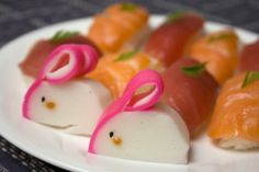 bunnies styled from kamaboko {fish cakes} | by Anna the Red