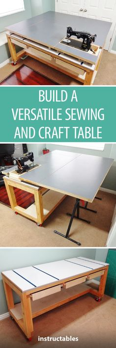 Build a Versatile Sewing and Craft Table  #furniture #woodworking #storage #organization