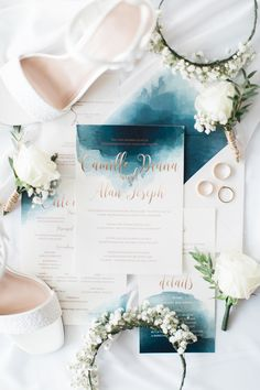 Pastel themed wedding invite with watercolour detail   A Heartwarming Wedding in Tagaytay with Pastel Hues   https://brideandbreakfast.ph/2018/01/26/a-heartwarming-wedding-in-tagaytay-with-pastel-hues/
