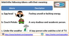 Freaky #Friday is here and here is a #freaky exercise to practice #English.  #idioms www.eagetutor.com Lazy Person, Idioms And Phrases, Lack Of Energy, English Idioms, Meant To Be, Friday, Exercise, Feelings, Learning