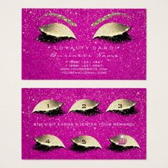 #Loyalty Card 6 Lashes Gold Hot Pink Crown Confetti - #office #gifts #giftideas #business
