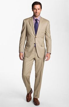 Canali Wool Suit | Nordstrom; Tan suits look so classy #Nordstromweddings