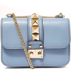 Valentino Mini Blue Lock Leather Bag (€1.490) ❤ liked on Polyvore featuring bags, handbags, shoulder bags, valentino, shoulder strap handbags, genuine leather handbags, leather shoulder handbags, genuine leather purse and blue shoulder bag