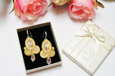 Yellow soutache earrings, Silver earrings, Crystal clear Earrings, Elegant earrings, Fashion Modern Earrings, Gift for women for Christmas This beautiful earrings are made in soutache embroidery technique. The color is combination of yellow, Crystal clear and silver. They are made with Rayon Soutache, Glass Beads, Acrylic BeadsSeed Beads and Suede on the back. The earrings findings are hypoallergenic. Size: length 6 cm (3 inches) width 2.5 cm (1,1 inches) They are light and comfortable. Al... Soutache Earrings, Silver Earrings, Jewelry Design, Unique Jewelry, Embroidery Techniques, Beautiful Earrings, Gifts For Women, Glass Beads, Jewellery