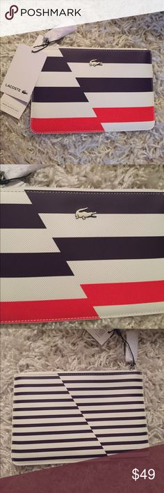 Lacoste Zip Pouch NWT purple, white, and orange zippered pouch. Inside is padded for protection of whatever you store inside. Measures 8x5 inches. Lacoste Bags Clutches & Wristlets