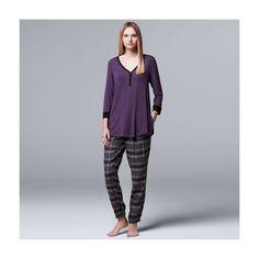 Women's Simply Vera Vera Wang Pajamas: Flirting with Autumn Top & Flannel Jogger Pants PJ Set, Grey Other