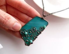 Stained glass necklace copper wire pendant by ArtemisFantasy