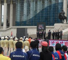 Olympic Day (June 23) in #Ulaanbaatar and send-off for Olympic team (in cream parade uniforms). #London2012