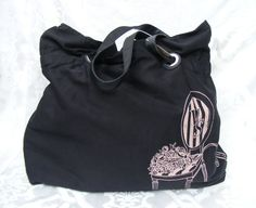 NWT VICTORIA SECRET Tote, Black Canvas Shopper Pink Chair & Roses print MSRP $70 #VictoriaSecret #TotesShoppers