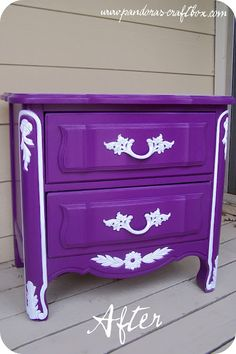 Nightstand Redo from Pandora's Craft Box - this is absolutely beautiful, HOWEVER i am not a fan of painted furniture. I like the natural color of the wood it's made out of (thanks daddy for this learned appreciation ) Purple Rain, Purple Lilac, Shades Of Purple, Deep Purple, Purple Furniture, Painted Furniture, Diy Furniture, Bedroom Furniture, Purple Home