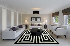 Living Room: Cool Living Room Black White Rug White Modern Couch Black Pendant Ideas: Black And White Living Room Design Ideas