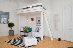 Jurnal de design interior - Amenajări interioare : Garsonieră cu pat suspendat