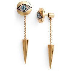 Women's Iam By Ileana Makri 'Dawn' Spike Drop Back Earrings ($288) ❤ liked on Polyvore featuring jewelry, earrings, yellow gold, spike earrings, golden earring, golden jewelry, spikes jewelry and earrings jewelry