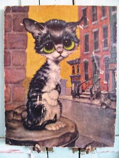 Vintage 1960's Big Eyed Pity Kitty by Gig by TheIDconnection