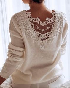 Style:Brief Pattern Type:Patchwork Material:Polyester Neckline:Round Neck Sleeve Style:Long Sleeve Decoration:Lace Length:Regular Occasion:Casual Package Note: There might be Full Figure Fashion, Lace Sweater, Lace Insert, Casual Tops, Sleeve Styles, Autumn Fashion, Fashion Outfits, Clothes, Clothing Clearance
