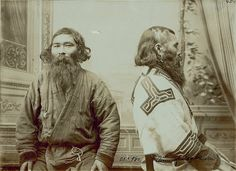 Two Ainu men from Sakhalin, October 20, 1909 by Bronislaw Pilsudski || Ainu are indigenous people or groups in Hokkaido, Japan and Far East Russia.