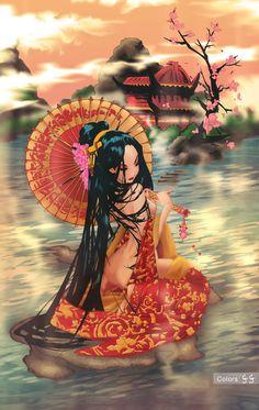 geisha sunset thanks for 5000k by LittlePan on DeviantArt