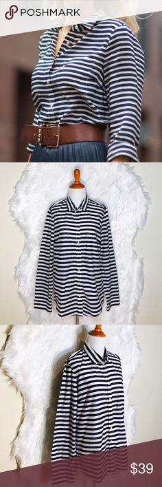 "J.Crew Navy Blue/White Stripe Long Sleeve L52-it's a nice staple to any wardrobe whether you wear it casually or dressed. Its perfect match for your favorite boots. Worn once- excellent condition. Laid flat across @ bust: 20.5"", length: 28"". J. Crew Tops Tees - Long Sleeve"